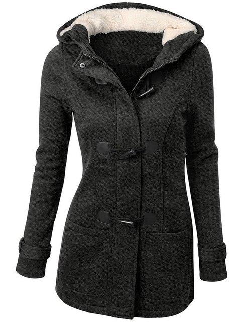 Winter Jacket Women Hooded Winter Coat Fashion Autumn Women Parka Horn Button Coats Abrigos Y Chaquetas Mujer Invierno 3