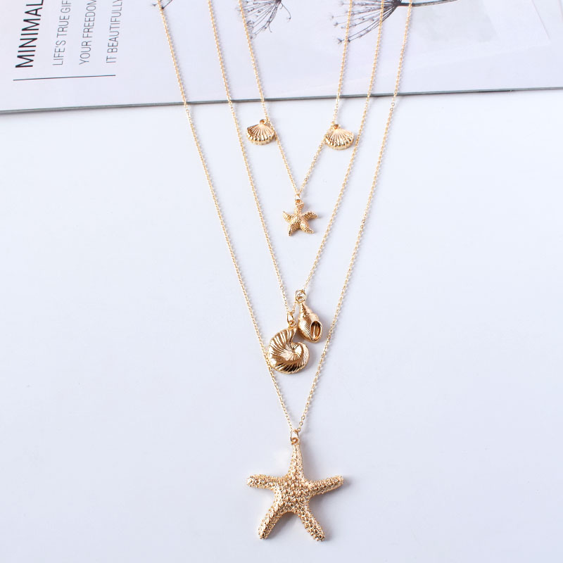 JT/_ Ocean Sea Shell Faux Pearl Starfish Layered Statement Necklace Jewelry Con