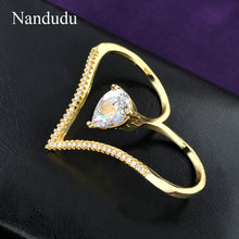 Nandudu Two Finger Rings Love Heart Between The Finger Ring Gold Color Hot Sale Jewelry Adjustable size R924 R925