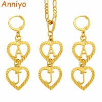 Anniyo DIY Customized Letter Name Necklace Earrings For Women Girl Only Hanging 2 Letters Tell Me