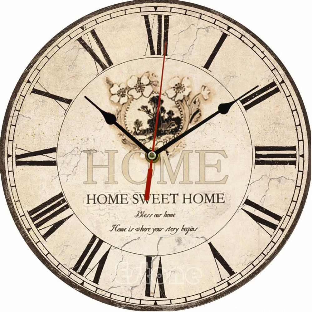 Large Vintage Flower Wooden Wall Clock Kitchen Antique Shabby Chic Retro Home
