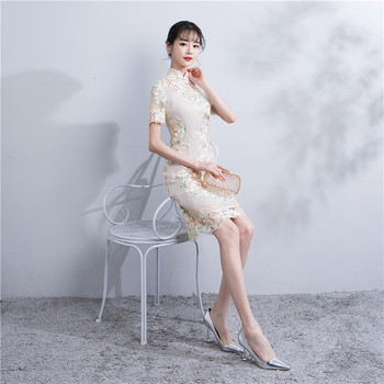 Shanghai Story 2018 Chinese Style Dress Lace Qipao Chinese traditional dress Short Sleeve cheongsam dress For Women