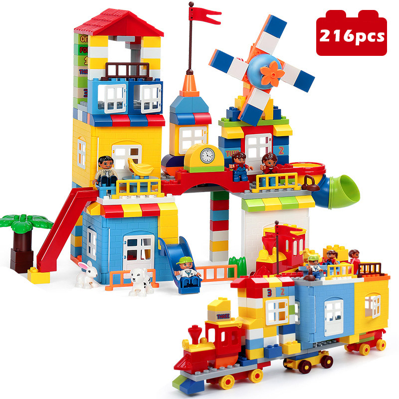 216Pcs DIY Colorful City House หลังคา Big Particle Building Blocks ปราสาทของเล่นสำหรับเด็กใช้งานร่วมกับ Duploe รถไฟสไลด์-ใน บล็อก จาก ของเล่นและงานอดิเรก บน   1