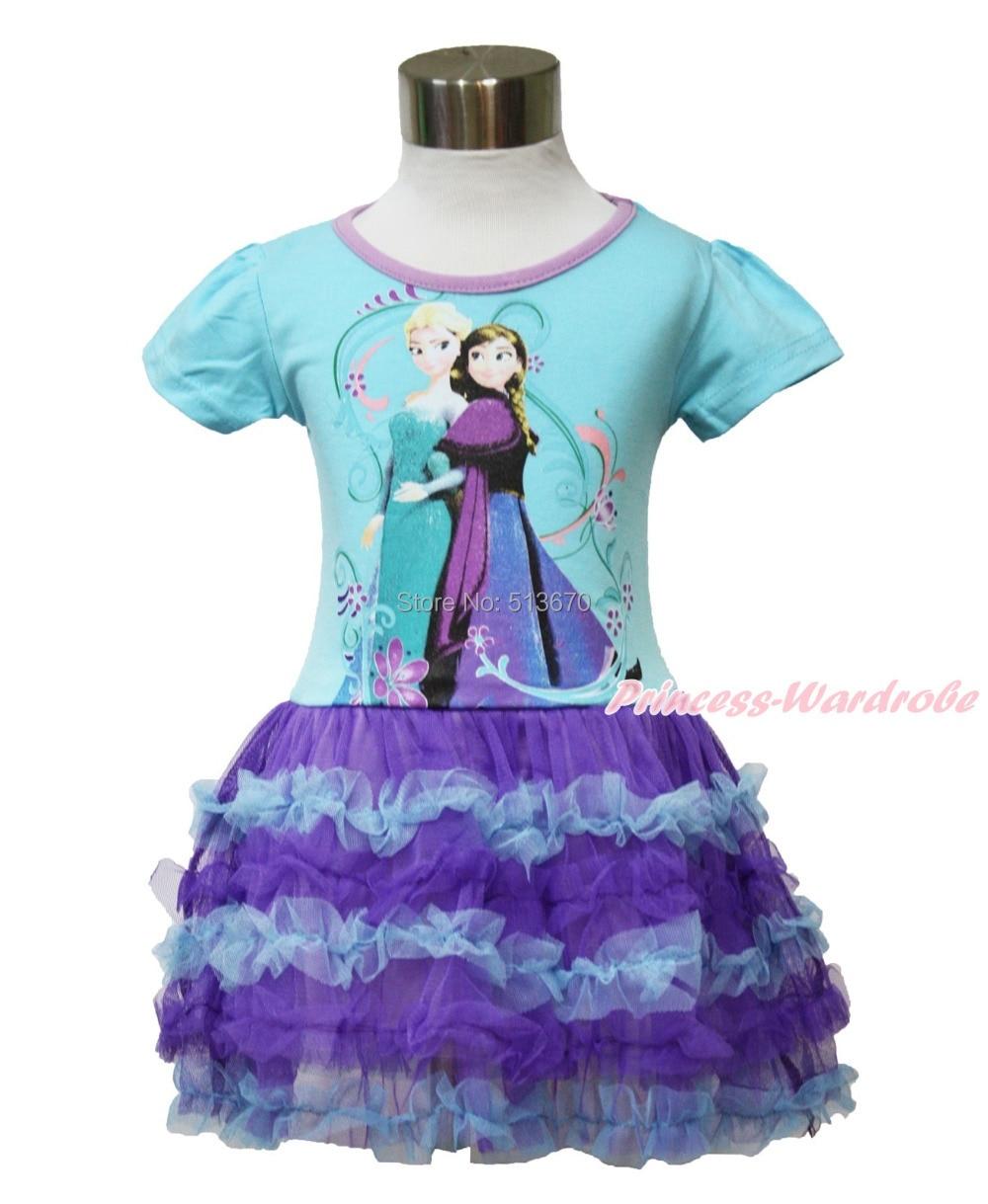 Snow Princess Elsa Anna Blue Short Sleeves Girl Purple Gauze Ruffle Dress 2-7Y MAC106