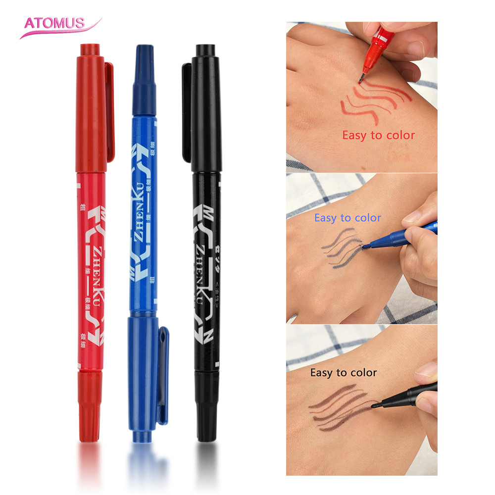 New Position Tattoo Supplies Portable Eyebrow Tattoo Marker Pen Skin Scribe Tool 3 Color Permanent Waterproof Ink Thin Nib Crude