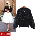 5xl plus big size sweater women spring autumn winter 2017 feminina nail bead loose black gray sweaters female A2574