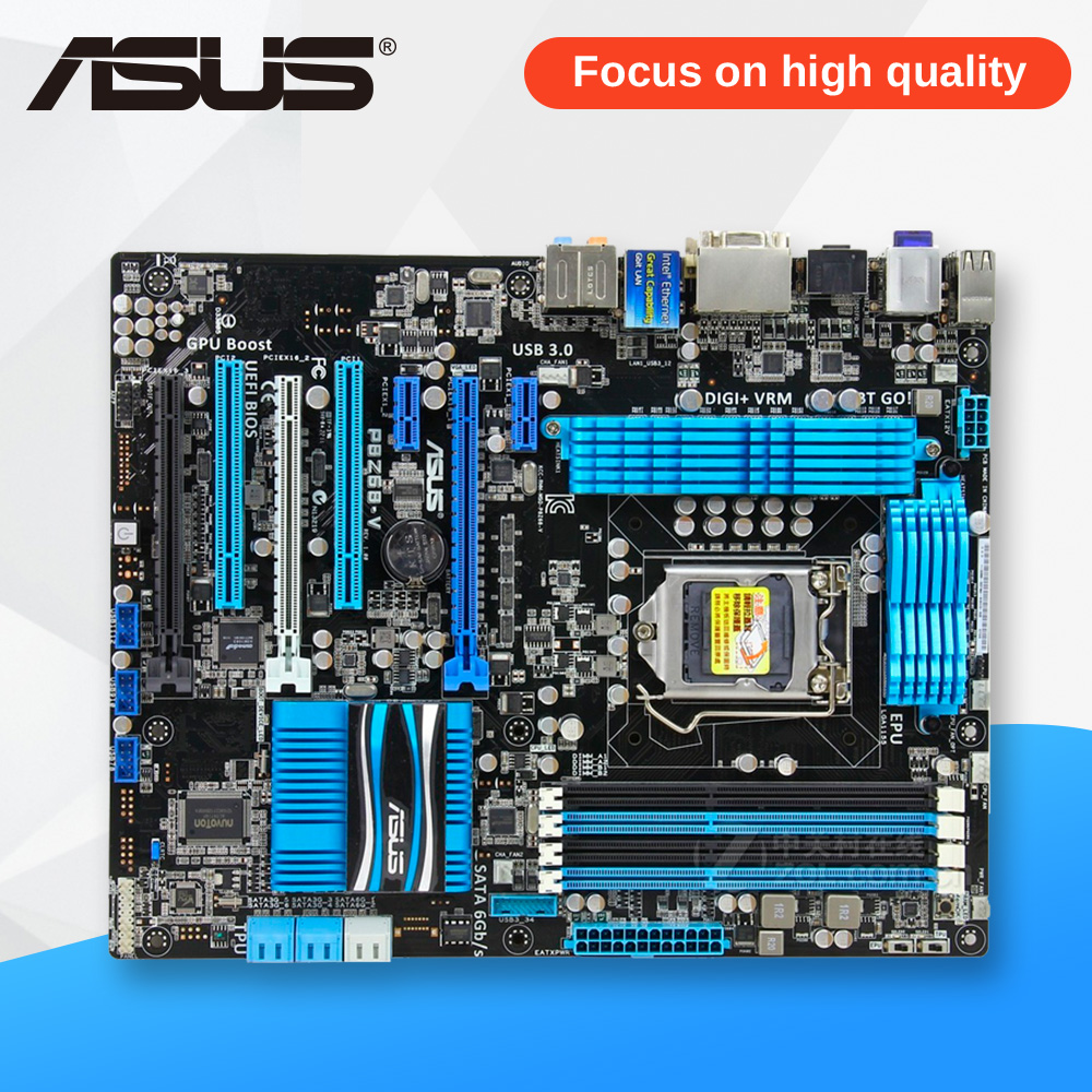 Asus P8Z68-V Desktop Motherboard Z68 Socket LGA 1155 i3 i5 i7 DDR3 32G SATA3 USB3.0 ATX On Sale asus p5ql cm desktop motherboard g43 socket lga 775 q8200 q8300 ddr2 8g u atx uefi bios original used mainboard on sale