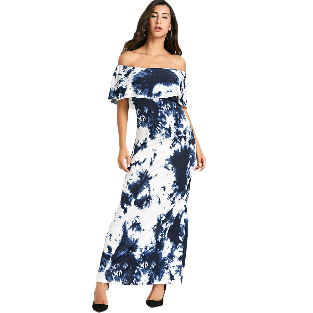 Kenancy Tie Dye Ruffled Off The Shoulder Maxi Dress Women Floral Print Sexy  Bodycon Long Dress Beach Dresses Vestidos-in Dresses from Women s Clothing  on ... 4687ec53202b