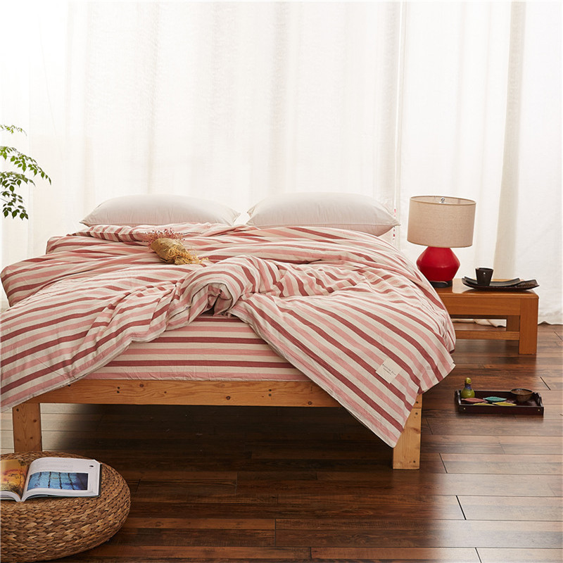 Trendy Red Stripe Pattern Home Quilt Cover 100% Cotton Comforter Cover Printed Bed Duvet Cover 150cm*200cm/160cm*210cm Size Soft