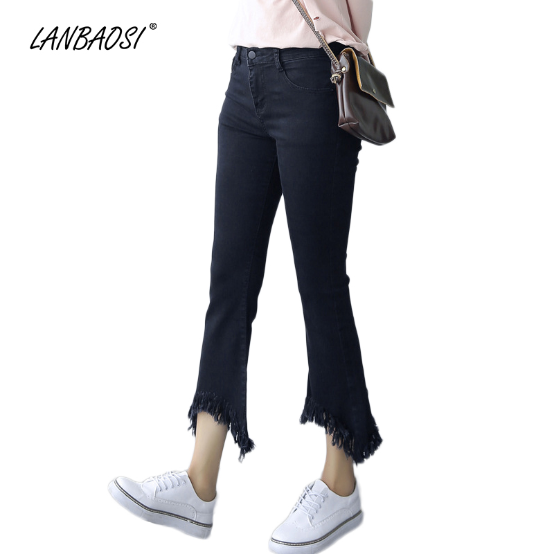 LANBAOSI Cropped Flare Jeans for Women Wide Leg Denim Pants High Waist Female Casual Mom Jean Trousers Ladies Palazzo Pant lanbaosi jeans cropped wide leg jeans for women high waist palazzo flare blue denim pants casual ladies mom jean wash trousers