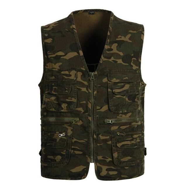 96a19755da1 2017 New Men Denim Vest Casual Vintage Sleeveless Washed Vest Military  waistcoat Man Cowboy Camouflage Jacket Plus Size L-4XL
