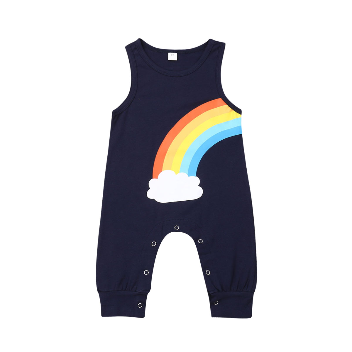 Summer Baby Boys Rainbow Romper Outfit Clothes