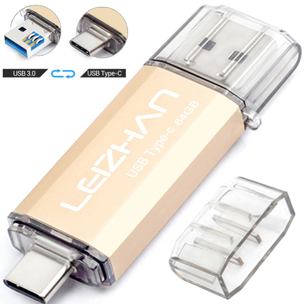 LEIZHAN OTG USB Flash Drive Photo Stick 128GB 64GB 32GB 16GB For Samsung Galaxy S10 S9 S8 256GB Pendrive USB3.0 Type C Flash USB