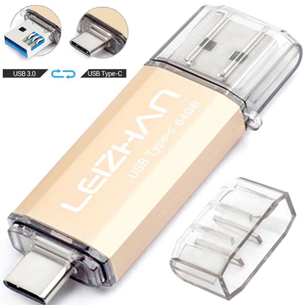 LEIZHAN OTG USB Flash Drive Photo Stick 128GB 64GB 32GB 16GB For Samsung Galaxy S10 S9 S8 256GB Pendrive USB3.0 Type C Flash USB