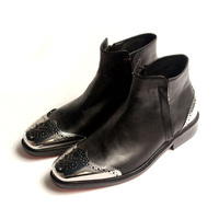 Michlediys Handmade All match Dress Black Leather Boots Metal Tail Brogue Double Zipper Mens Ankle Boots