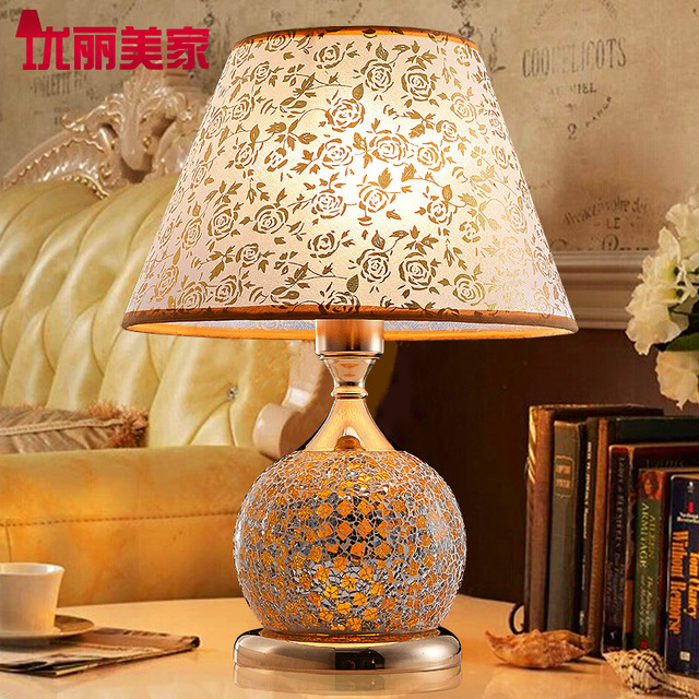 TUDA 41X31cm Vintage Style Table Lamp Indoor Lighting Table Lamp Creative  Fashion Mosaic Glass Decorate LED
