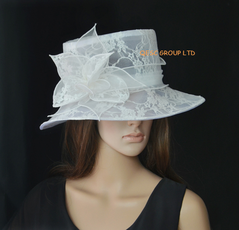 WHITE Lace organza hat church bridal wedding sinamay hat fascinator for  kentucky derby 79a70676797