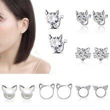 Rinhoo Fashion Shiny Zircon Pearl Cat Stud Earrings Cute Romantic CZ Kitten Earrings Women Party Ear Jewelry Hot Gift Wholesale цена 2017