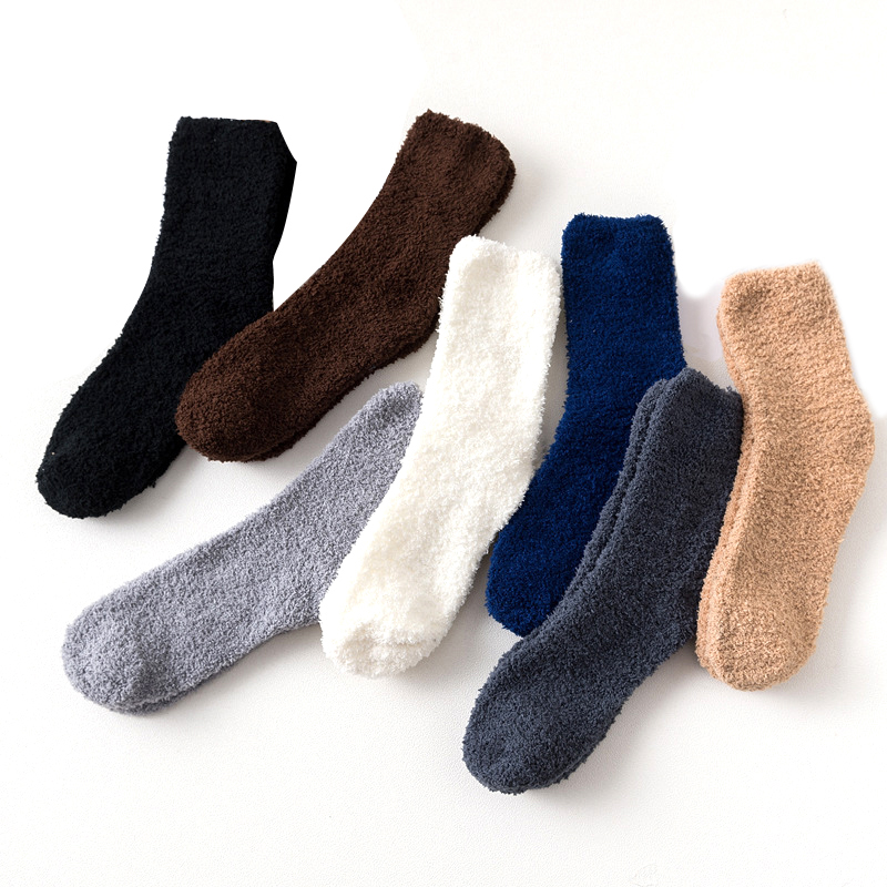 Winter Thick Casual Women Men Socks Solid Thermo Warm Terry Socks Fuzzy Fluffy Short Terry Cotton Fuzzy Nylon Socks Male Gift