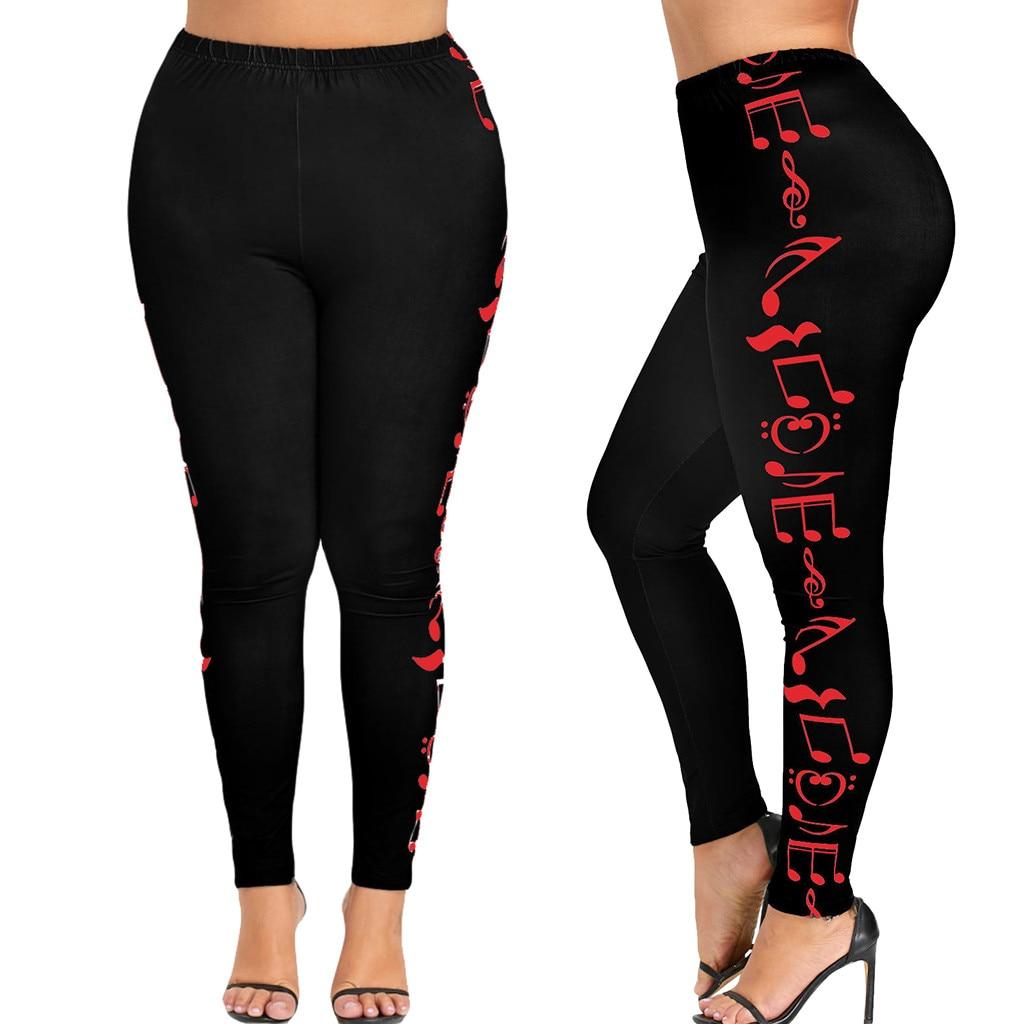 2019 Sexy Fashion Women High Waist Plus Size Sport Pants Music Note Leggings Trousers Leggings Leggins Women Clothes 2019