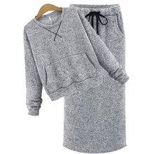 Мода Осень Зима С Длинным Рукавом Высокая Талия Трикотажные Женщины 2 шт. наборы юбка Костюм JM8869