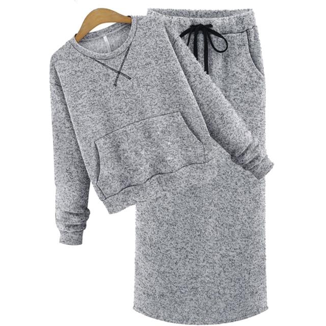 Fashion Autumn Winter Long Sleeve High Waist  Knit Women 2 piece skirt sets Tracksuit  JM8869