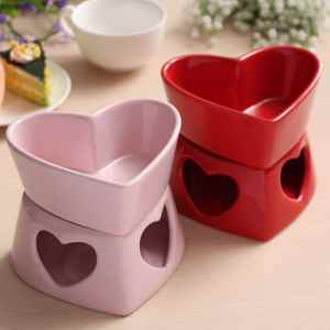 Bowl Fondue-Set Chocolate Tray Cheese-Tools Dipper Ceramic Kitchen Love-Shape Home