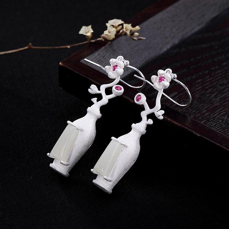 INALIS nouveau luxueux crochet d'oreille 925 en argent Sterling fleur et bouteille forme Dangle boucles d'oreilles avec carré Jade Brincos bijoux