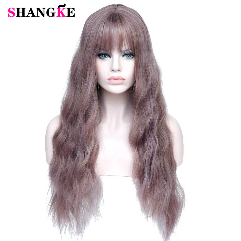"SHANGKE 26"" Long Mix Purple Womens Wigs with Bangs Heat Resistant Synthetic Kinky Curly Wigs for Women African American(China)"