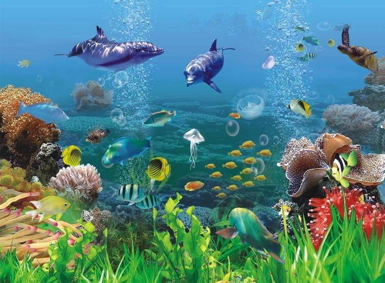 Buy custom photo wallpaper 3d mural for Mural hidupan laut
