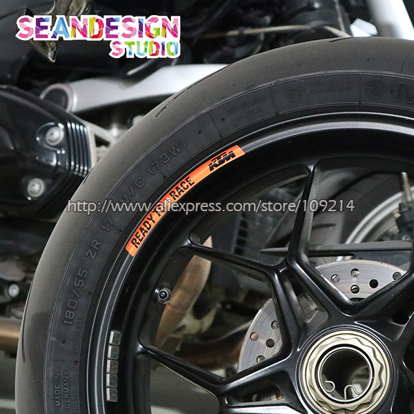For KTM Duke 200/390/690/990/1190/1290/RC8/RC390 4 Strips Wheel Sticker Reflective Rim Bike Motorcycle universal motorcycle accessories gear shifter shoe case cover protector for ktm duke 125 200 390 690 990 350 1290 adventure exc
