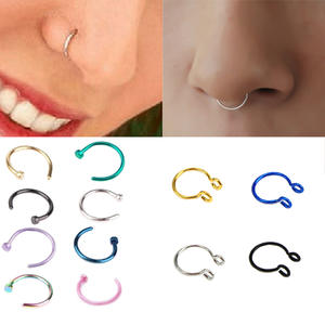 1pcs U Shaped Fake Nose Ring Hoop Septum Rings Stainless Steel Nose Piercing Fake Piercing Oreja Pircing Jewelry