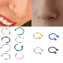 1pcs U Shaped Fake Nose Ring Hoop Septum Rings Stainless Steel Nose Piercing Fake Piercing Oreja Pircing Jewelry cheap URORU Fashion Nose Rings Studs Body Jewelry Vintage Figure Metal