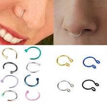 1 pçs em forma de u falso nariz anel aro septo anéis de aço inoxidável nariz piercing falso oreja pircing jóias