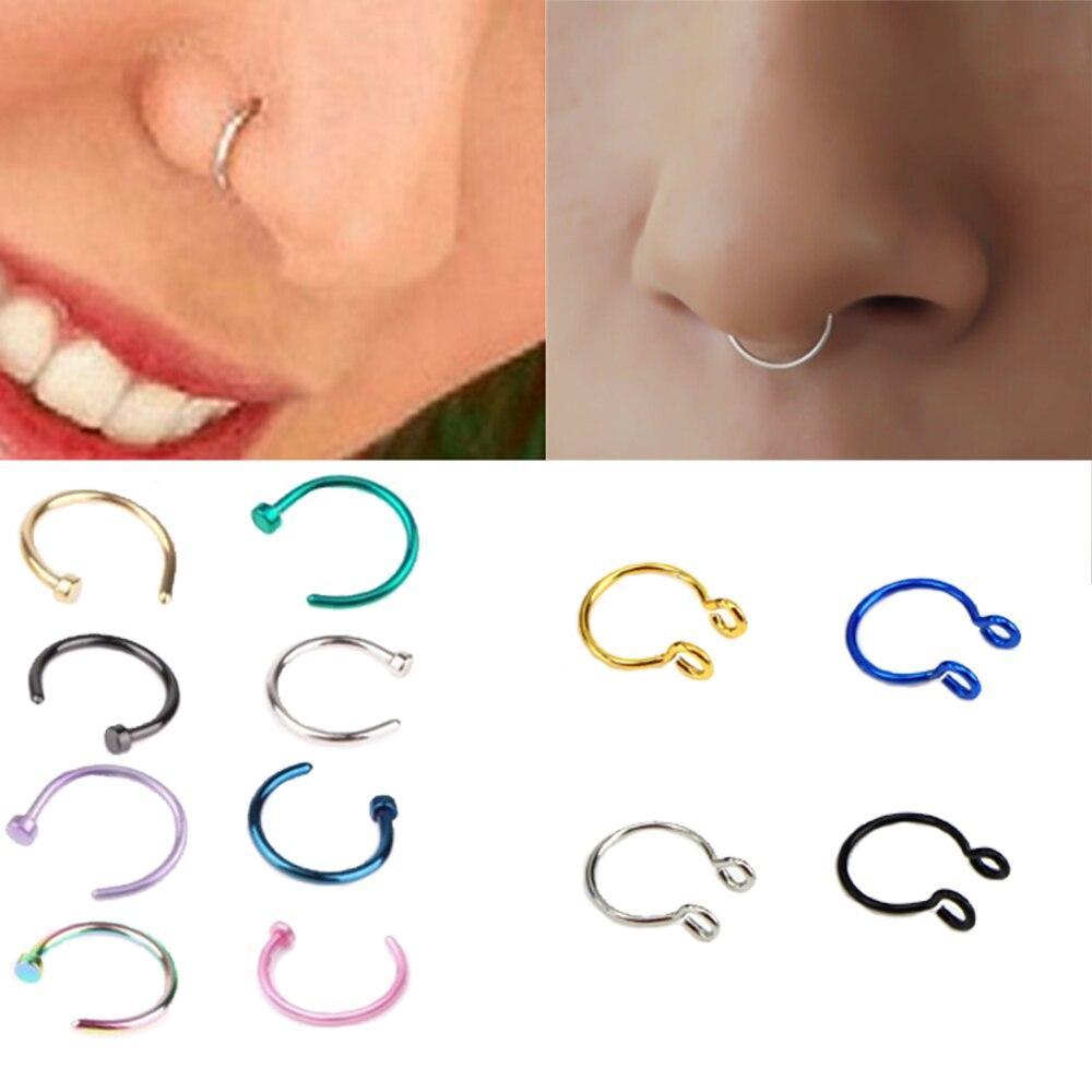 Piercing falso em formato de u, nariz, argola, septo, anéis, aço inoxidável, piercing do nariz, jóias de pircing orha, 1 peça