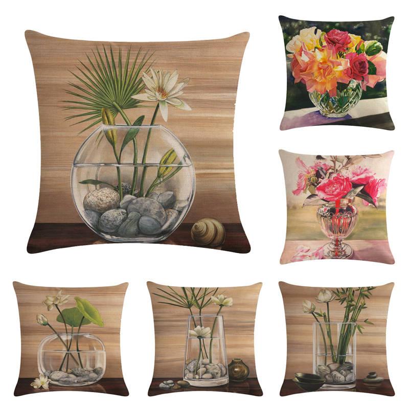 Luxury flower vase pillow cushion cover plant home decor cojines decorativos para sofa vintage Cojines decorativos para sofas
