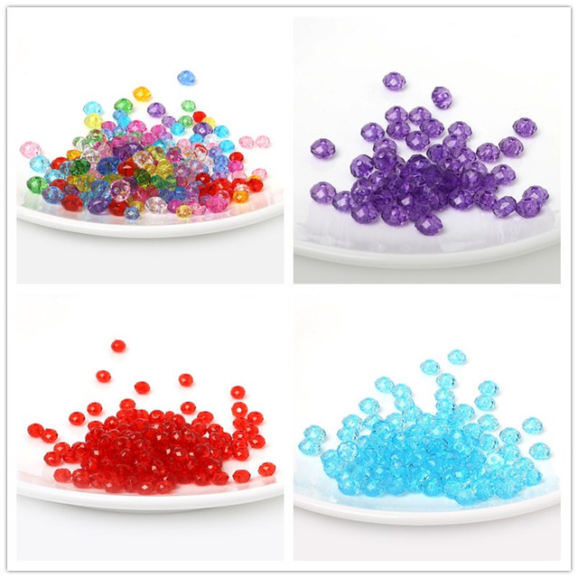 8mm 100pcs Rondelle Round Spacer Faceted Beads Acrylic Beads For Jewelry  Making DIY Fashion Bracelets Wholesale 91268647eb23