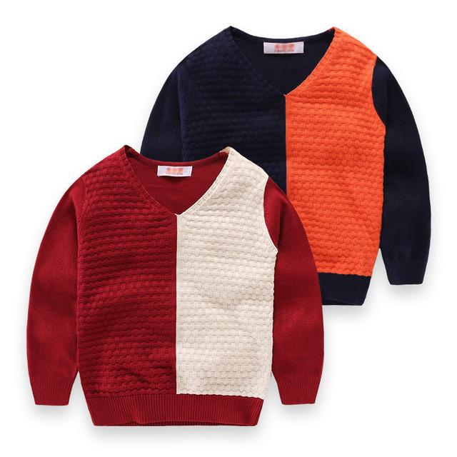 Bebés de invierno Jumper Suéteres Boy Patchwork Con Cuello En V Suéter Niños Suéter Ocasional Niños Ropa de Prendas de Punto Grueso