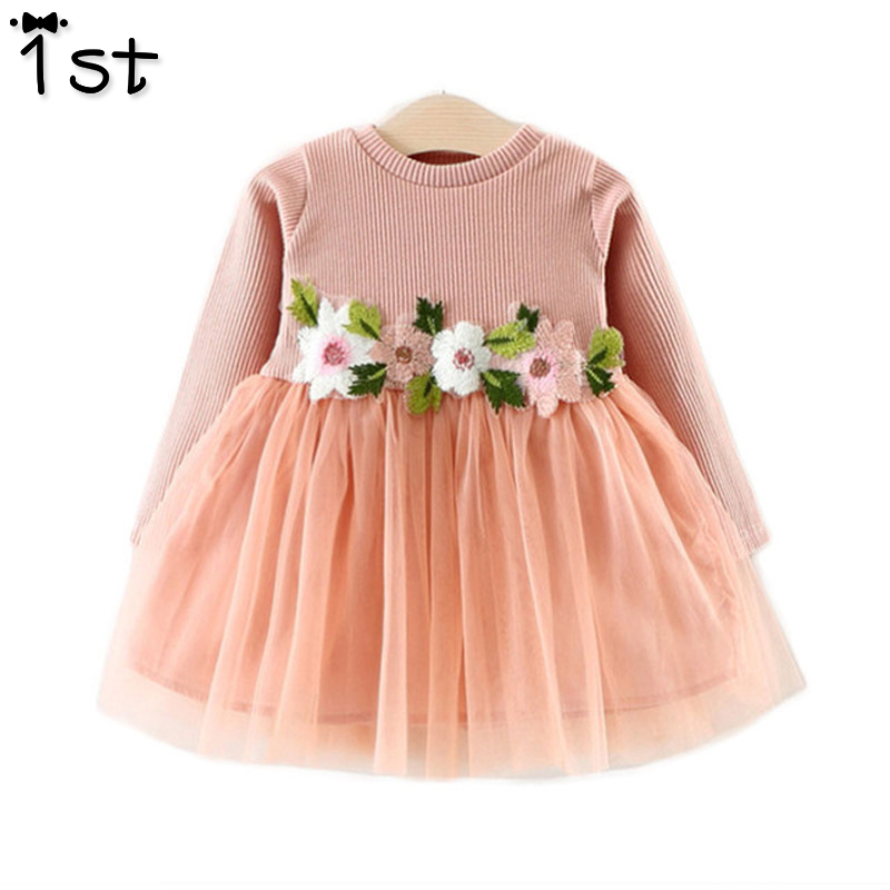1st 2017 nieuwe lente en herfst jurk voor baby meisjes lange mouw borduurwerk bloemen mesh tutu jurk kinderkleding peuter k1