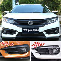 For Honda Civic 2016 2018 Car Front Fog Light Lamp Cover Trim ABS Carbon Fiber Style exterior accessories protector case