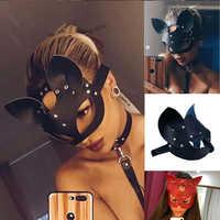 Cosplay Sexy chat masque femmes fille fête Costume PVC Bondage masques adulte jouer spécial chat oreilles réglable Design masques noir rouge