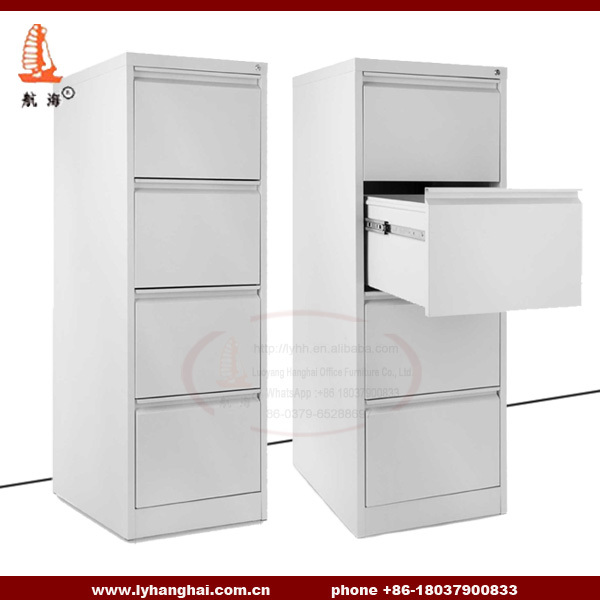 Steel Office Furniture Legal File Storage Cabinet Knock Down Structure Dark  Grey Vertical 4 Drawer File