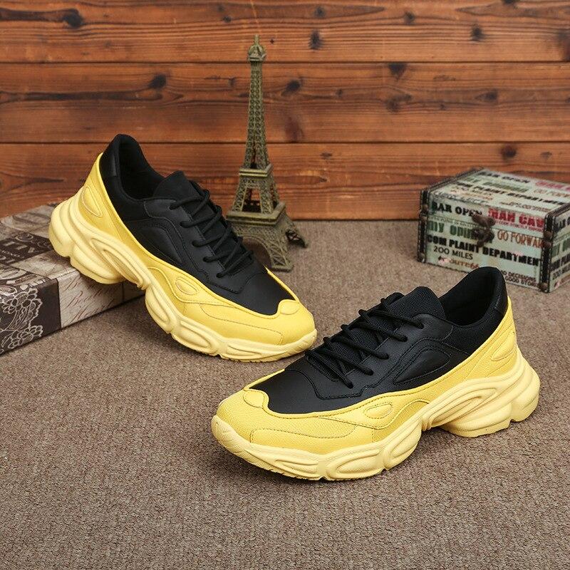Del Cuoio genuino scarpe casual scarpe da uomo del tutto fiammifero pelle bovina primavera estate autunno Hip hop traspirante scarpa da tennis pattini di Svago di modo degli uomini-in Scarpe casual da uomo da Scarpe su  Gruppo 3