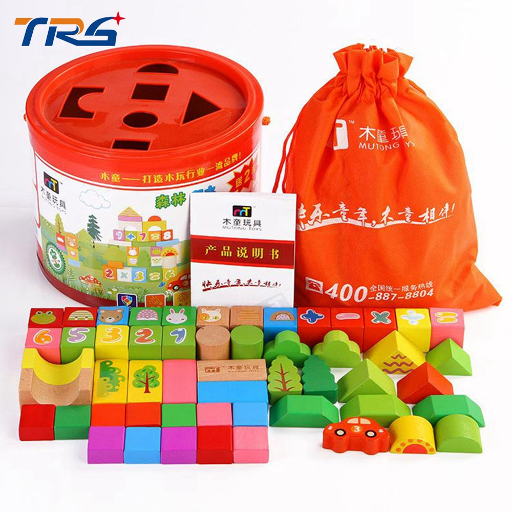 52pcs Educational baby wood blocks model & building toy for children montessori education animal & shape for kids gift sound heart shape ru bun lock children puzzle toy building blocks