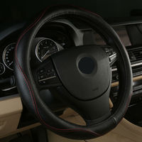 Hot Sell Leather Auto Car Steering Wheel Cover 38CM Anti catch Holder for romeo 147 156 159 giulietta Acura ZDX MDX RDX