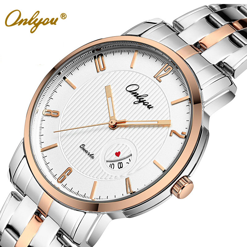 Onlyou Top Brand Luxury Womens Mens Watches Quartz Watch Stainless Steel Wristwatches Fashion Ladies Watch Male Clock Gifts 8861 onlyou brand luxury watches womens men quartz watch stainless steel watchband wristwatches fashion ladies dress watch clock 8861