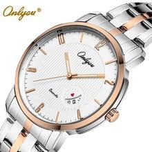 Onlyou womens mens relojes de primeras marcas de lujo de cuarzo reloj de señoras de la manera reloj de pulsera de acero inoxidable hombre reloj regalos 8861