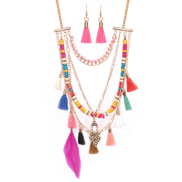 e60a2966f Tassel Multilayer Jewelry Sets Women Necklace Earrings Feather Cotton Silk  African Beads Jewelry Set In Gold Color Duftgold-in Jewelry Sets from  Jewelry ...