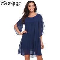 Meaneor Chiffon A Line Dress Women Casual Petal 3 4 Sleeve Summer Autumn Solid O Neck