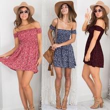 Oufisun Summer Beach Boho Women Dress Sexy Off Shoulder Floral Print Mini Dresses Casual Summer Party Femme Dress Vestidos